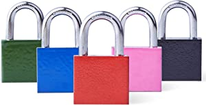 Padlock (Pack of 5 Multicolor) 30 mm - (Indoor/Outdoor Compatible) Individually Keyed Locks, Padlock with 3 Keys for School & Home Exterior Gates, Sheds, Lockers, Tool Box, Warehouse and More!