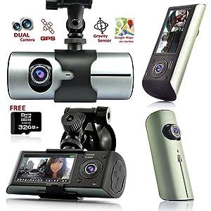 Indigi GPS Tracker Dash-Cam Dual Camera Driving Recorder Support Google Map ~Free 32GB~