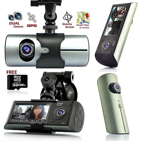 Indigi GPS Tracker Dash-Cam de vídeo para cámara Dual compatible con Google Map~