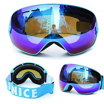 b7ea1bd55d13 Evangel Unisex Outdoor Windproof Dustproof Ski Goggles Double Lens Anti-fog  Big Spherical Professional Ski Glasses Mirror Multicolor Snow Goggles  (Frame ...