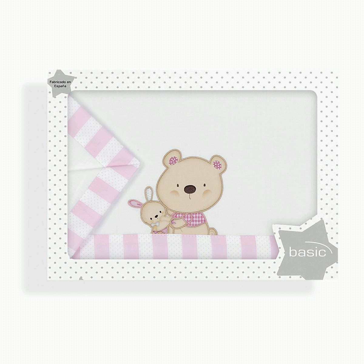 S/ábanas Minicuna Osito Love Blanco Rosa
