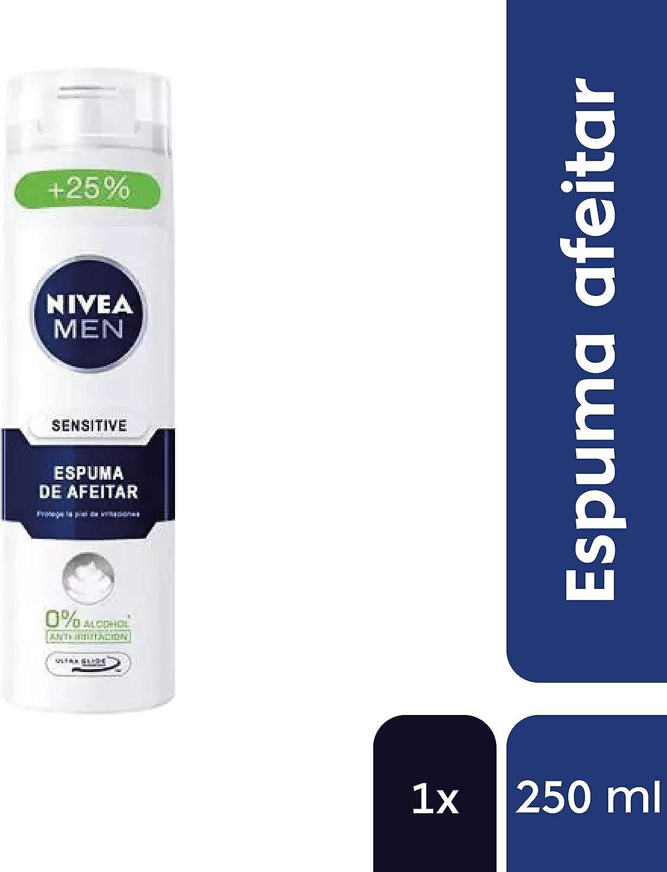 NIVEA MEN Sensitive Espuma de Afeitar (1 x 250 ml), espuma hidratante para el cuidado de la piel sensible, espuma de afeitado con tecnología Ultra Glide: Amazon.es: Salud y cuidado personal