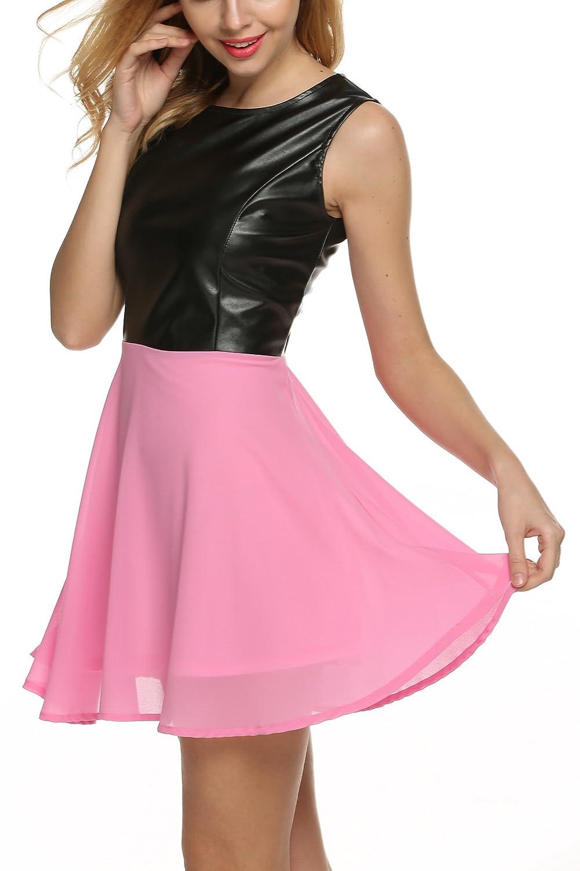 Zeagoo Women Summer Pleated Leather Chiffon Patchwork Mini Party Skater Dress