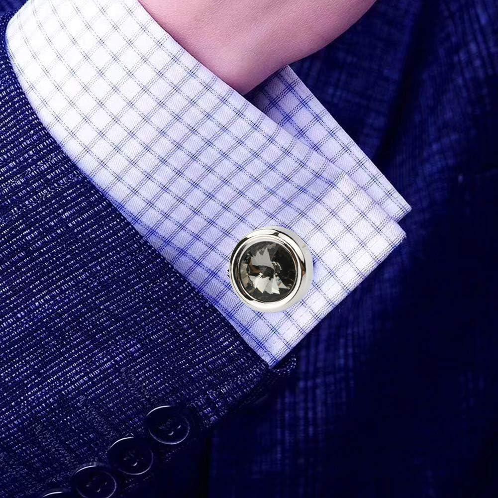light yellow Shirt cuff links with Gift Box Dannyshi Mens Crystal Cufflinks Dark Blue Grey