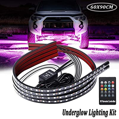 Car Underglow Lights,Led Strip Lights for Cars 12V RGB Neon Strip Lights 5050 SMD Multi Color Atmosphere Decorative Lights Strip Underbody Lighting Kit Sound Active Wireless Remote Control(60-90cm): Automotive