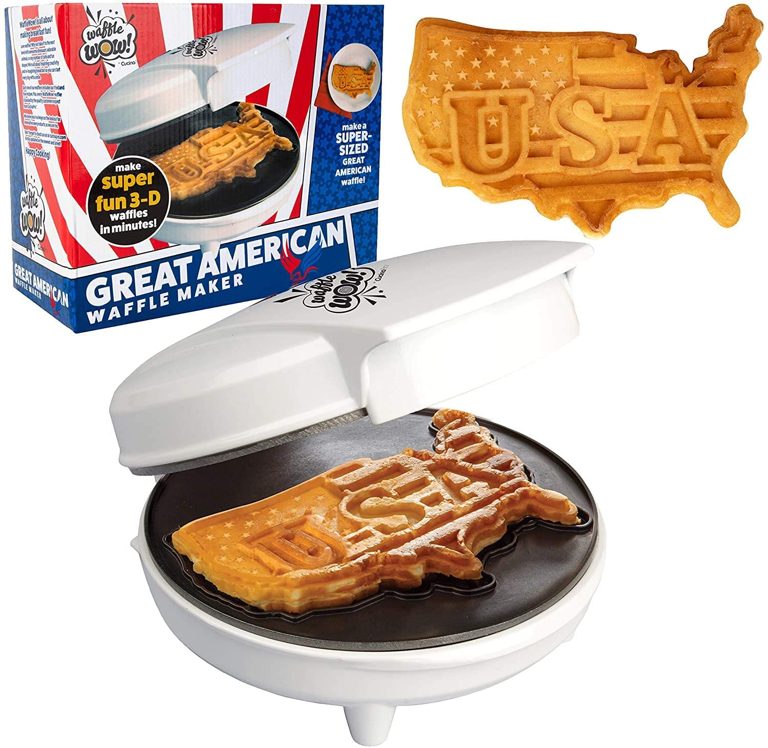 The Great American USA Waffle Maker- Make Giant 7.5