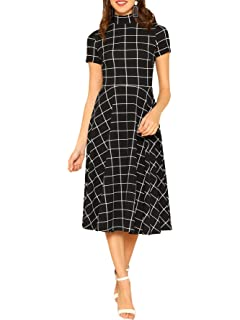 fab5d3e1b407 Amazon.com: Swing Cocktail Dress,Women's Vintage HalfSleeveg Plaid ...