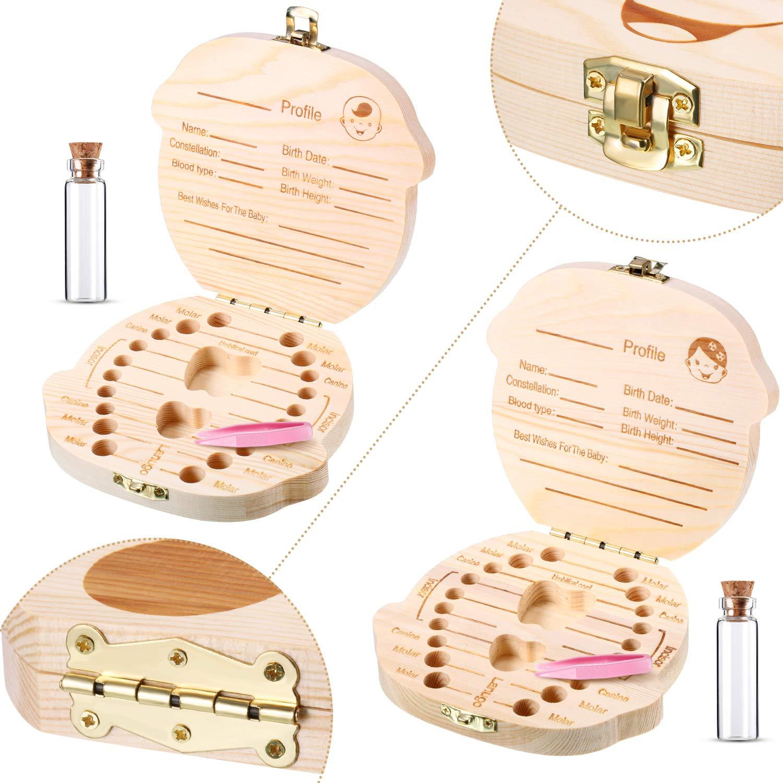 2 Holz Baby Zahn Box M/ädchen und Junge um Kindheitsged/ächtnis zu bewahren S/ü/ß Kinder Zahndose Kinder Andenken Organizer Geschenk Zahndose mit Pinzette und Lanugo Flasche