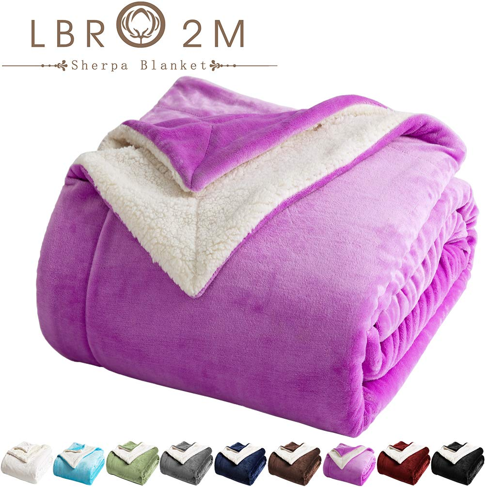 LBRO2M Sherpa Fleece Bed Blanket Twin Size Super Soft Fuzzy Plush Warm Cozy Fluffy Microfiber Couch Throw Velvet Double Reversible Luxurious Blankets (Purple, Twin(65x90 Inches))