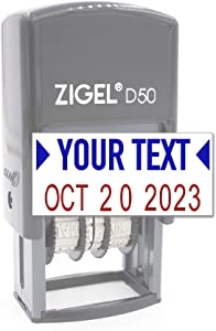 ZIGEL D50 Date Stamp with Your Custom Text - Self Inking Date Stamp - Blue/Red