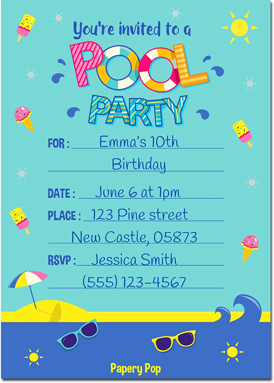 Amazon.com: Pool Party Invitations with Envelopes (15 Count) - Kids ...