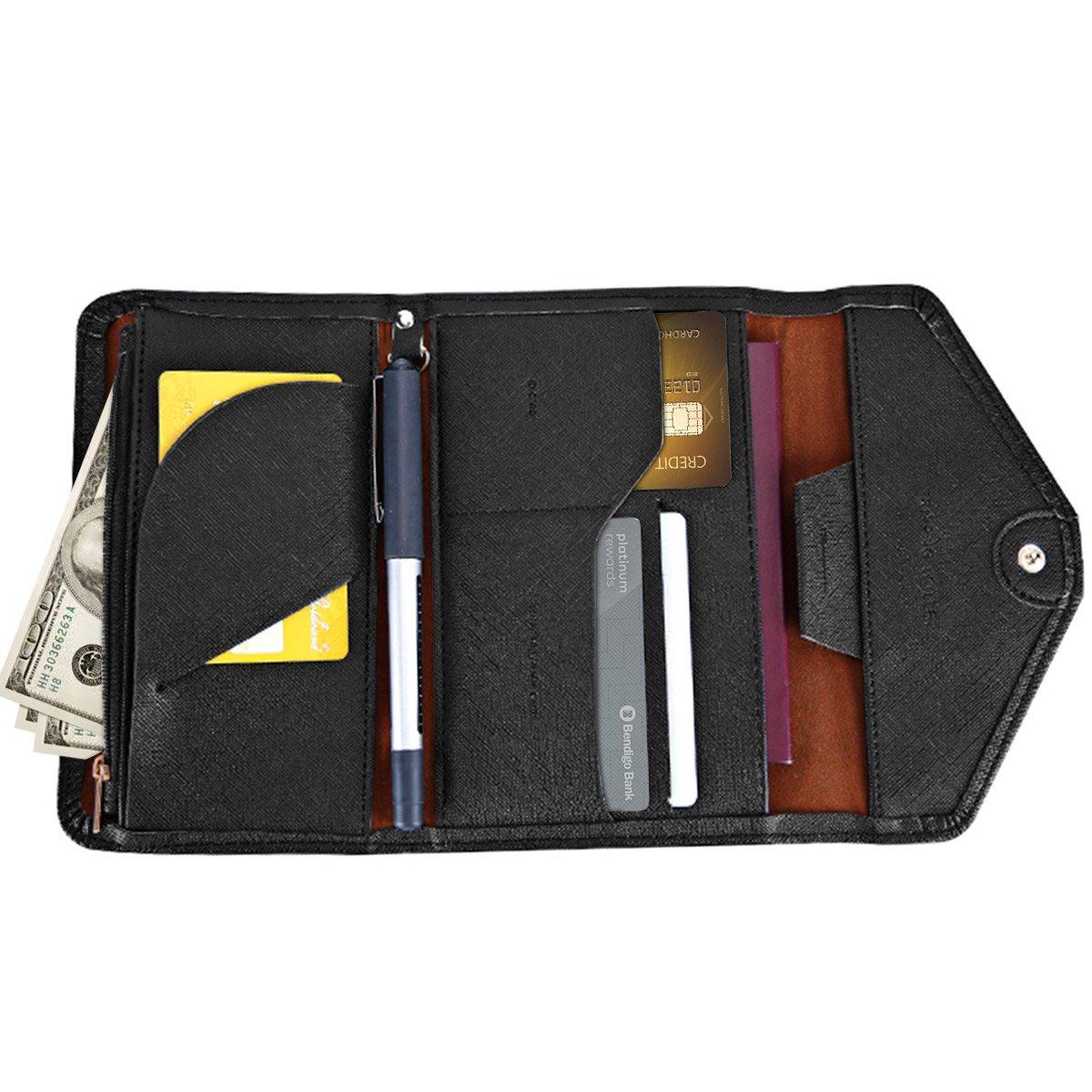 Travel Wallet Sumpus Passport Holder Card Holder RFID Document Organizer for Men Women Black