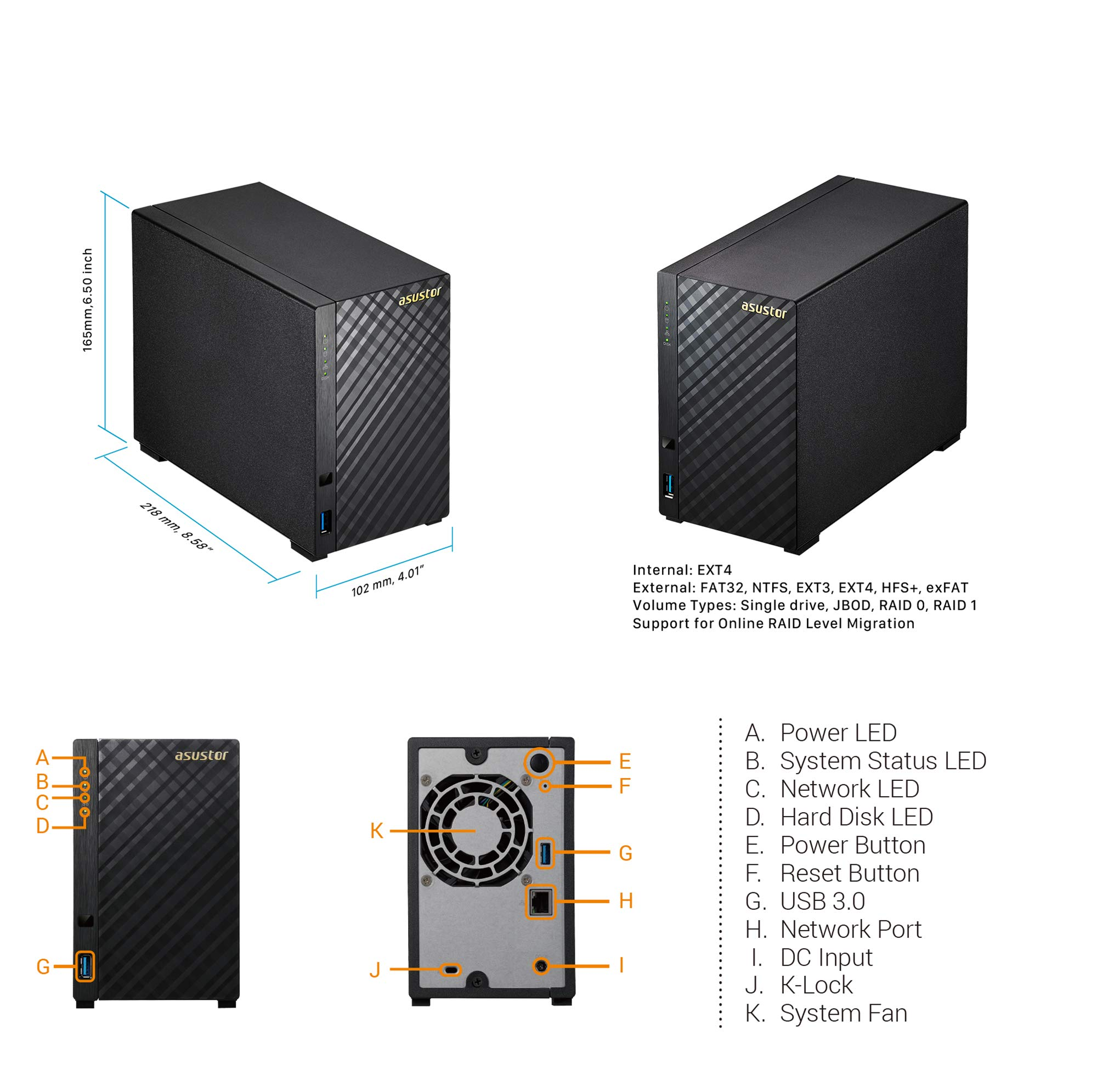 Asustor AS1002T v2   Network Attached Storage + Free exFAT License   1.6GHz Dual-Core, 512MB RAM   Personal Private Cloud   Home Media Server (2 Bay Diskless NAS) by Asustor (Image #3)