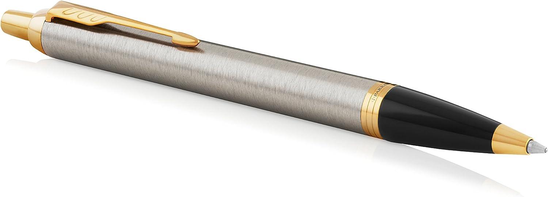 Parker IM - Bolígrafo, Punta mediana, color Acero (Brushed Metal Golden trim): Amazon.es: Oficina y papelería