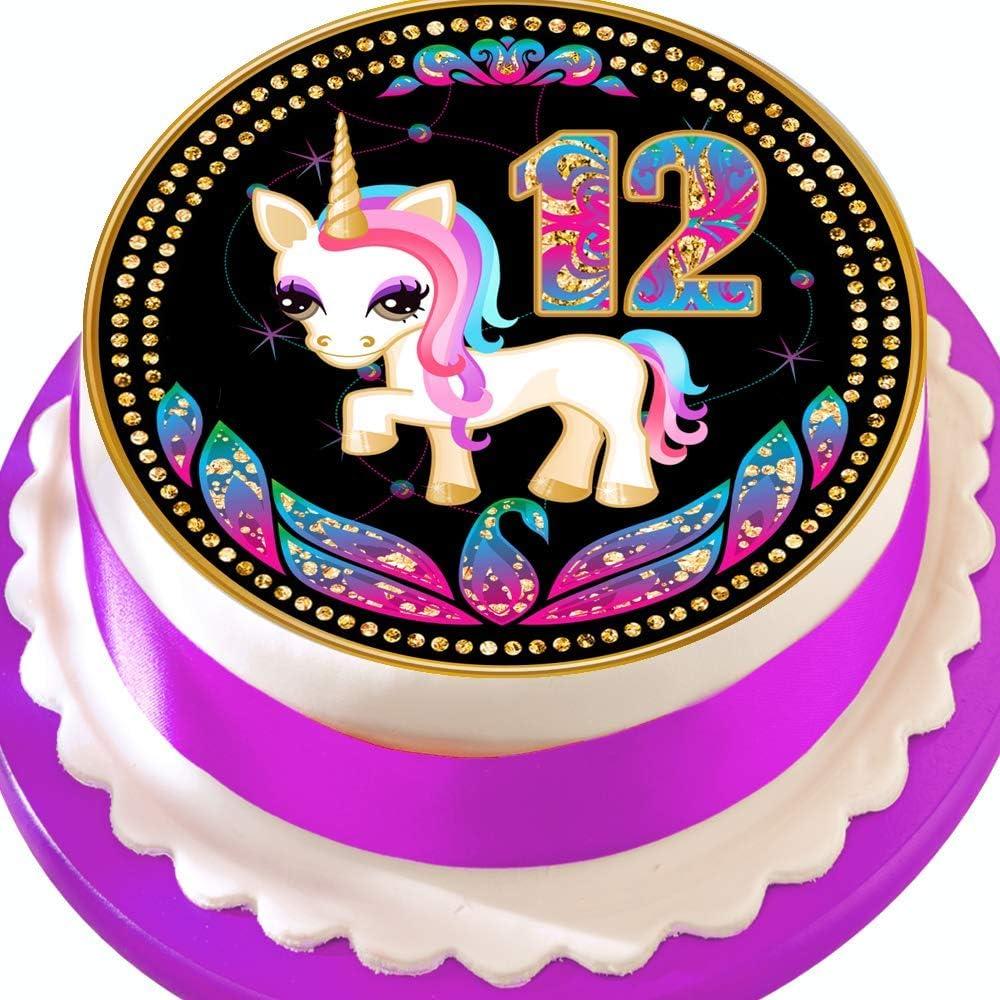 """pre cut icing Unicorn Cake  topper 7.5/""""  round"""