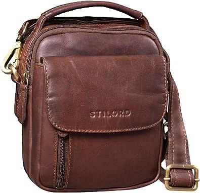 STILORD 'Keith' Mini Bolso Hombre Bandolera Piel Bolso Mano Hombre Cuero Vintage Pequeño Vintage Bolso de Muñeca para Cámara para Conciertos Viajes
