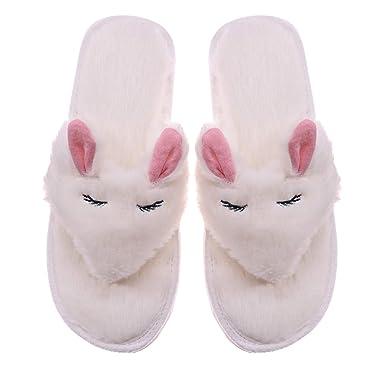 f8c72d359277 Amazon.com  RONGBLUE Women s Cozy Memory Foam Spa Thong Flip Flops Cute  Rabbit Plush Velvet Lining House Indoor Slippers  Shoes