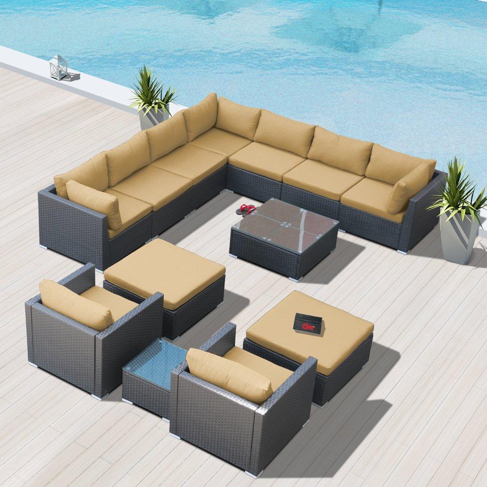 Amazon com modenzi g13 u outdoor sectional patio furniture espresso brown wicker sofa set light beige garden outdoor