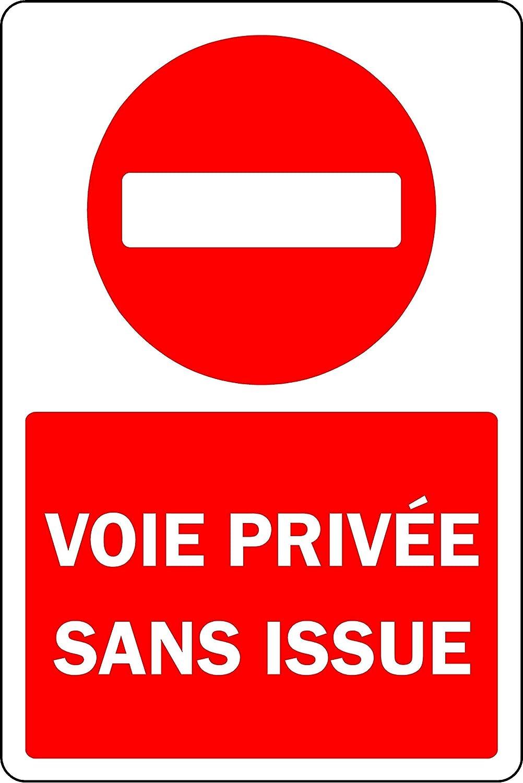 Panneau Voie priv/ée sans Issue Plaque Aluminium 3mm 300mm x 200mm
