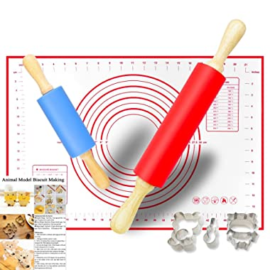 Non-Stick Rolling Pin and Pastry Mat Set, 15 inch and 9 inch Silicone Dough Rollers, Reusable Kneading Mat with Measurements, 2 Animal Combination Stainless Steel Cookie Cutters for Baking