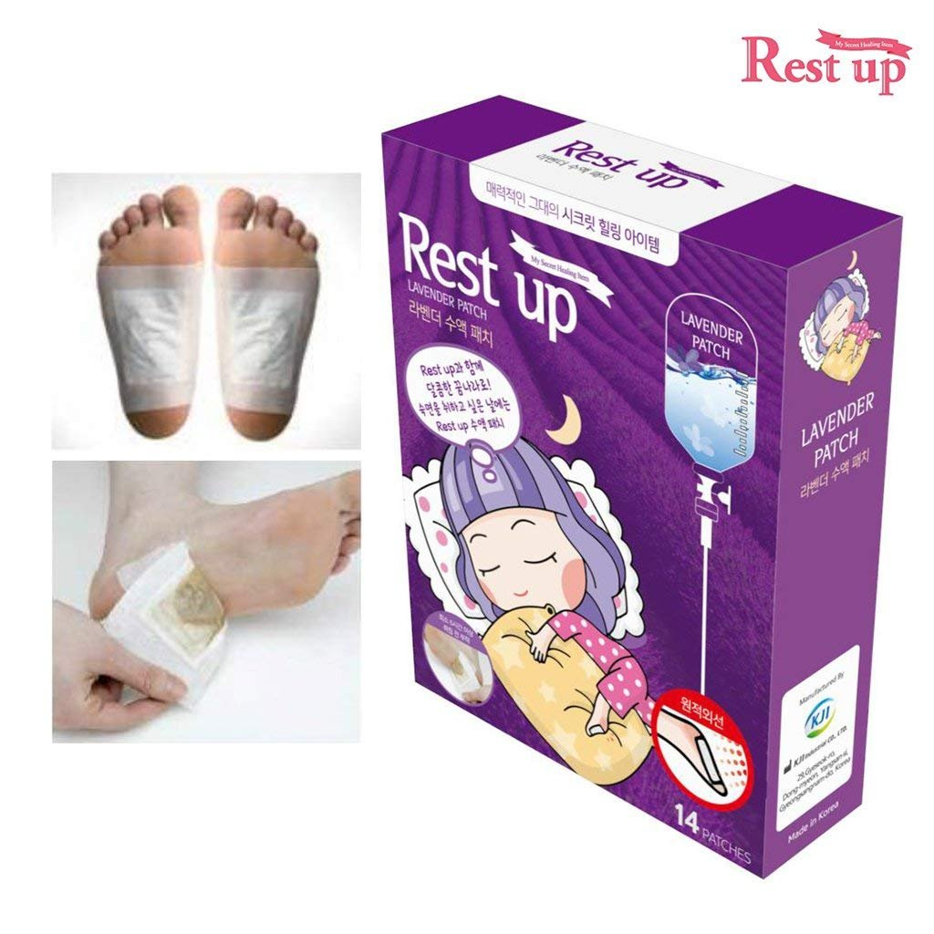 [RESTUP] Lavender Foot Rest Sole Pads Pack of 14 - 7 Time Use - More Than 6 Hours Foot Reflexology Aroma Sleep Therapy