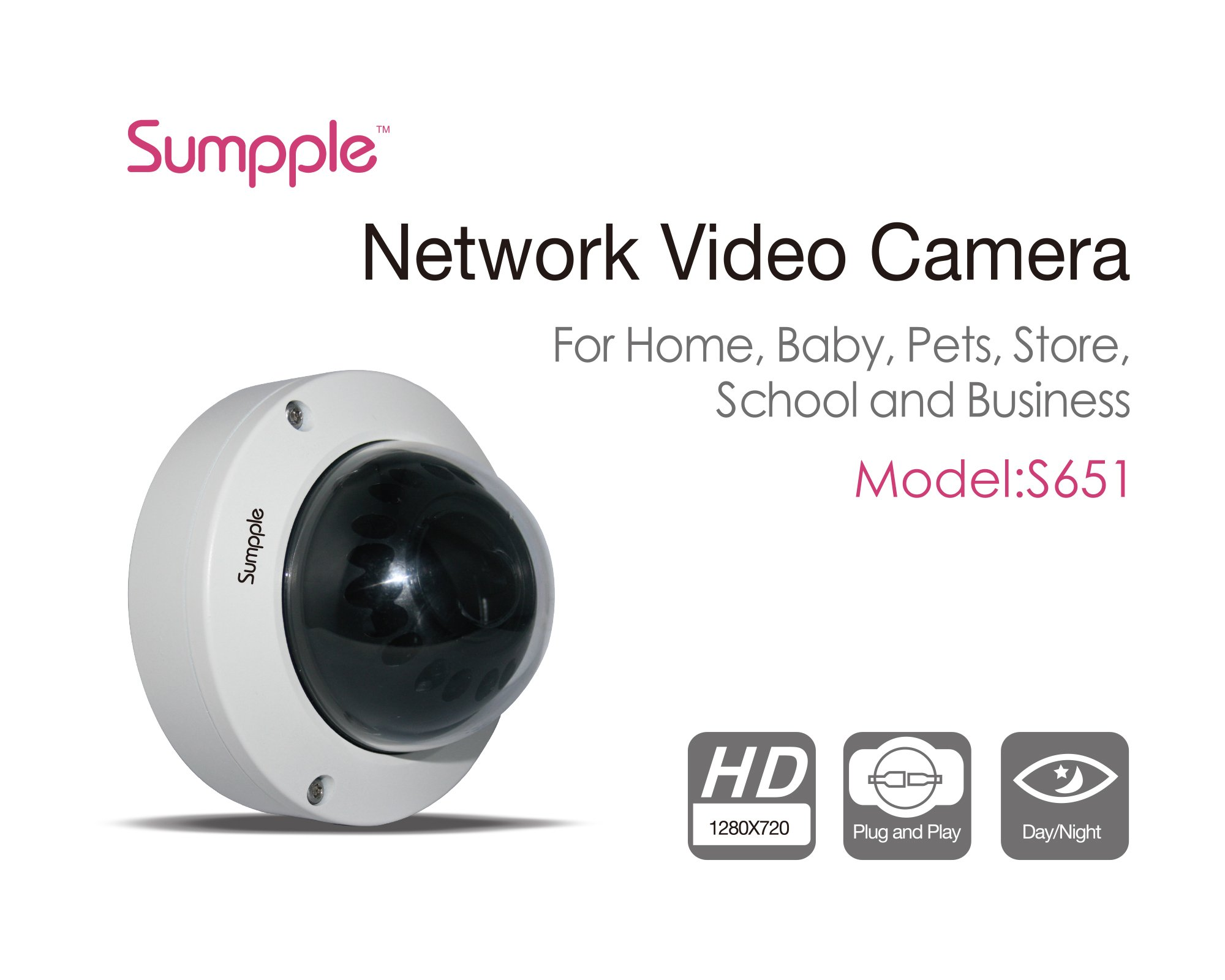 Sumpple Wired Night Vision Infrared 720P 1.0MP Security Internet Dome IP Network Camera, Motion Sensor Detection, 8X Digital Zoom, Video Record, Email Alarm, Work on iPhone, Android Phone or PC