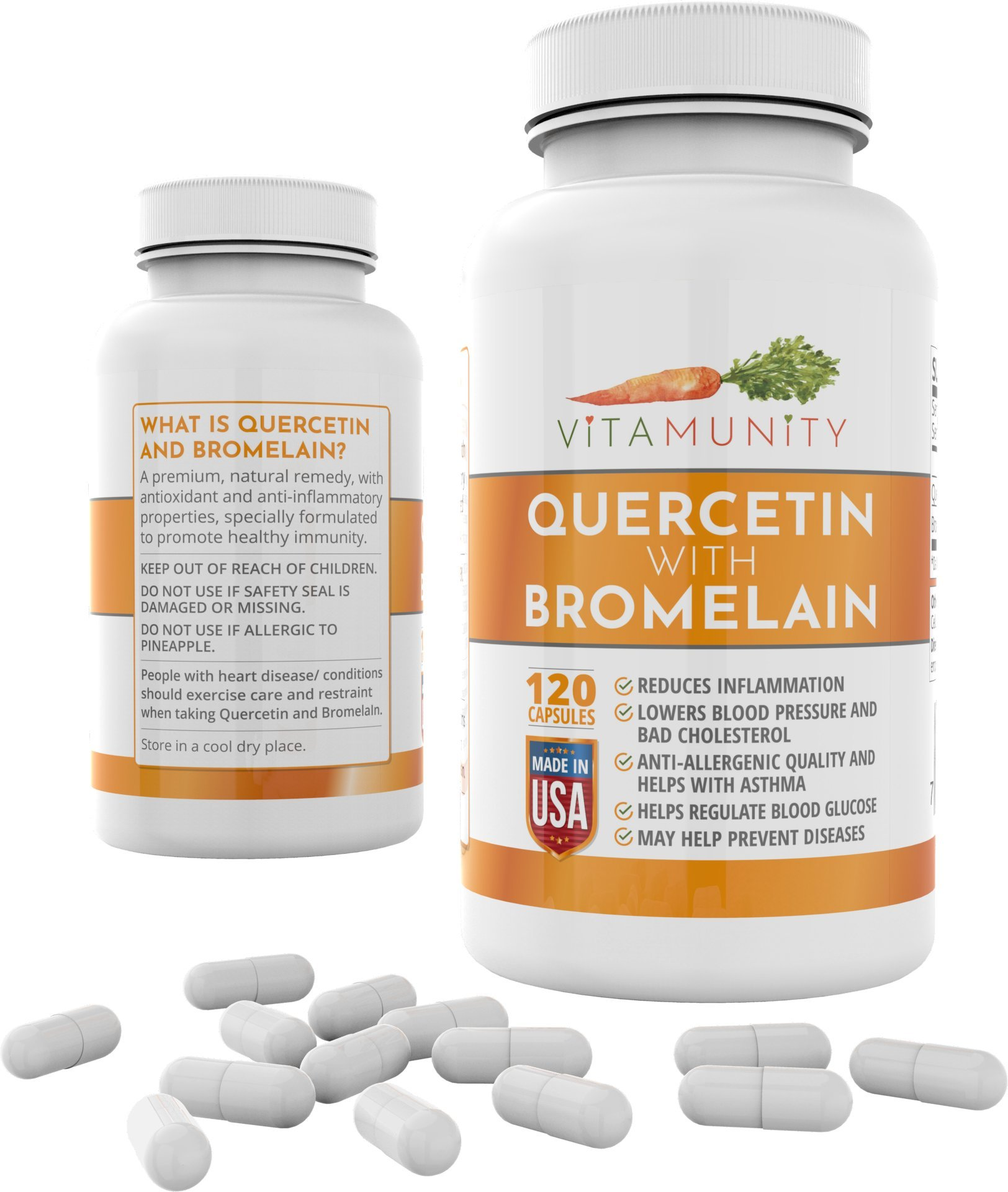 Quercetin with Bromelain by VitaMunity - Supports Immune and Heart Health, Fights Allergies, Lowers Inflammation - 800 Mg 120 Vegetarian Capsules