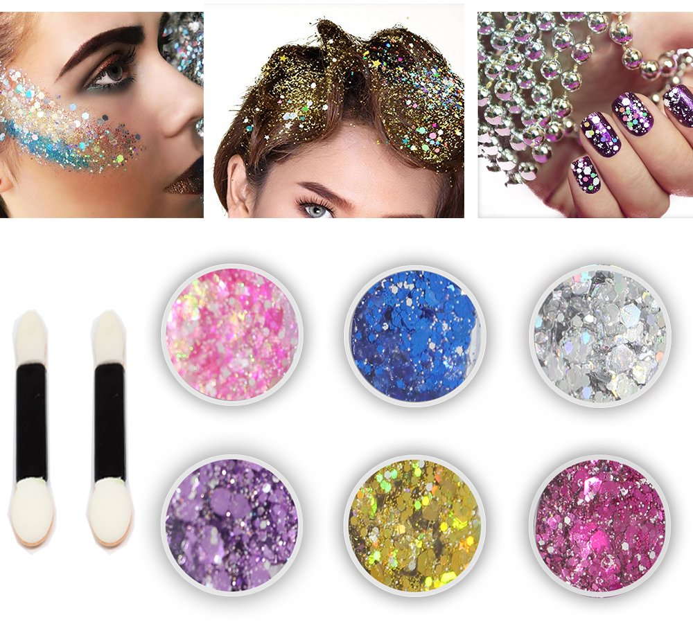 Body Glitter 6 Colors Holographic Chunky Glitter Long Lasting Fix Gel,COSMETIC GLITTER NEKOMI,Festival Beauty Makeup Face Body Hair Nails,Apply directly without glue by Nekomi (Image #1)