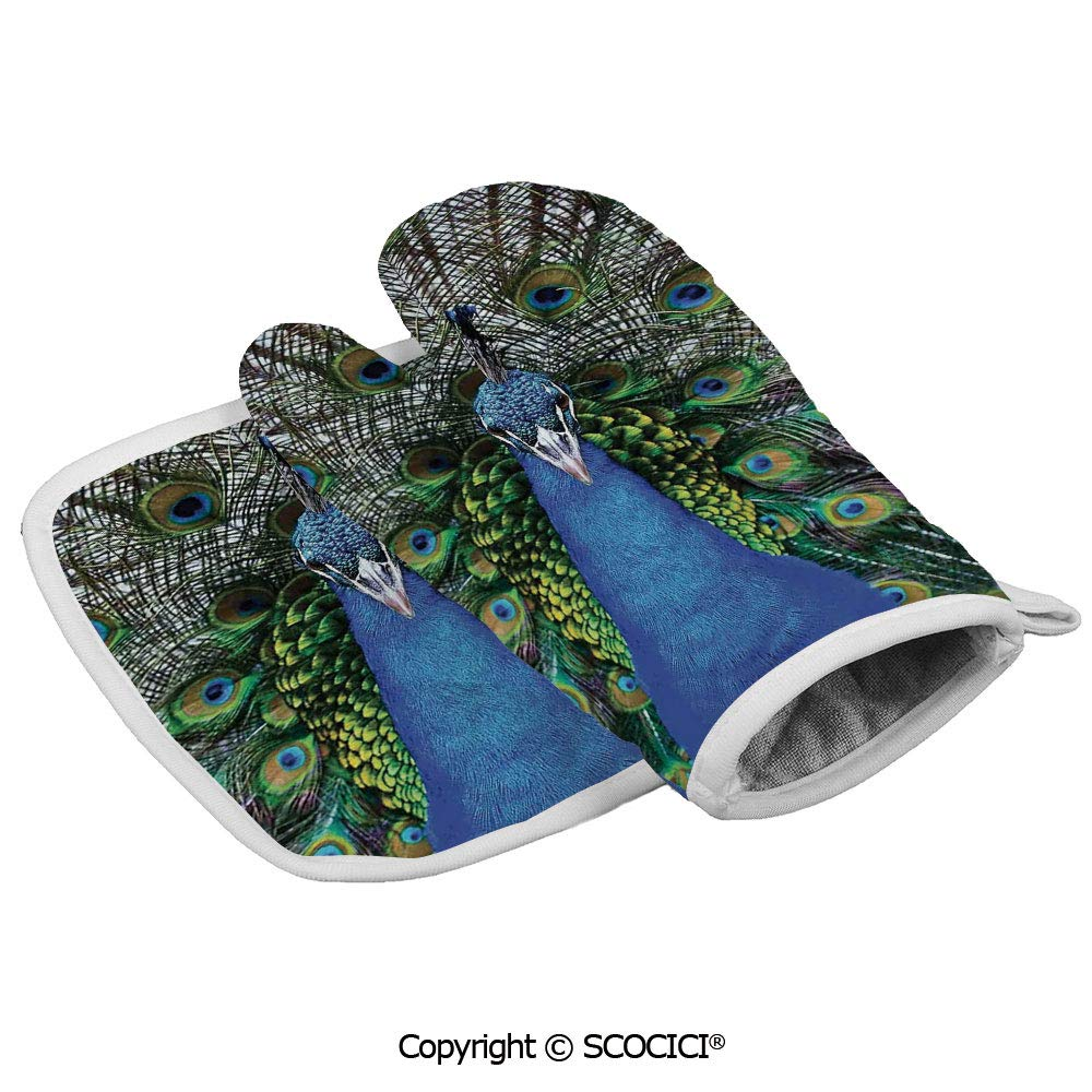 SCOCICI Oven Mitts,Professional Heat Resistant Magnificent Peacock Portrait with Colorful Feathers Photo Non-Slip Kitchen Oven Glove for Cooking,Baking,Barbecue Potholders