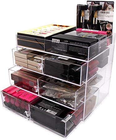 Hqdeal Rangement Maquillage Acrylique Vernis Tiroir Organisateur Cosmetique Bureau Boite De Maquillage Pas Cher Transparent Pour Femme Amazon Fr Cuisine Maison