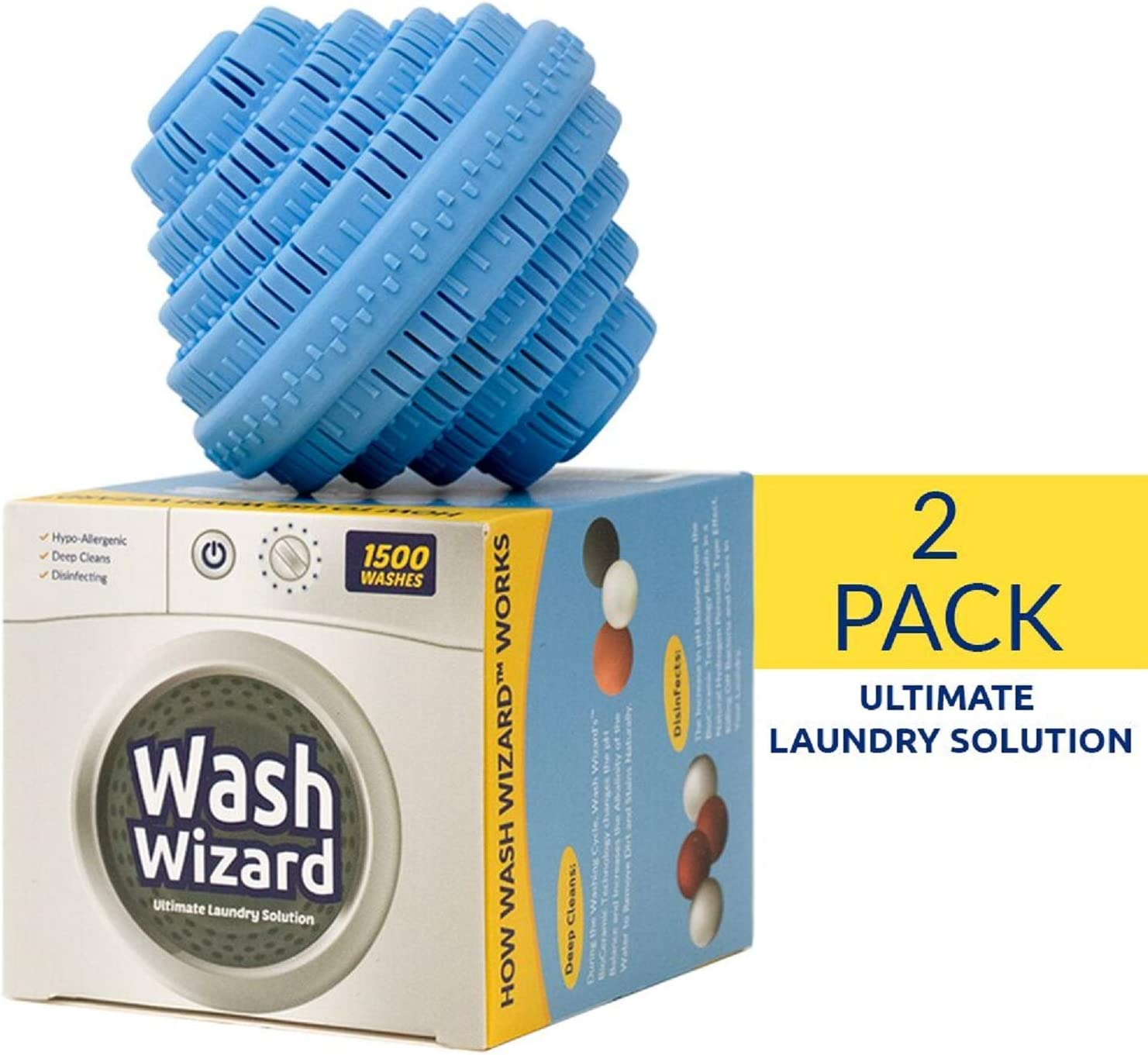Wash Wizard - Laundry Ball (2-Pack) - Top Rated Washer Ball - Reusable - Detergent Alternative & Replacement