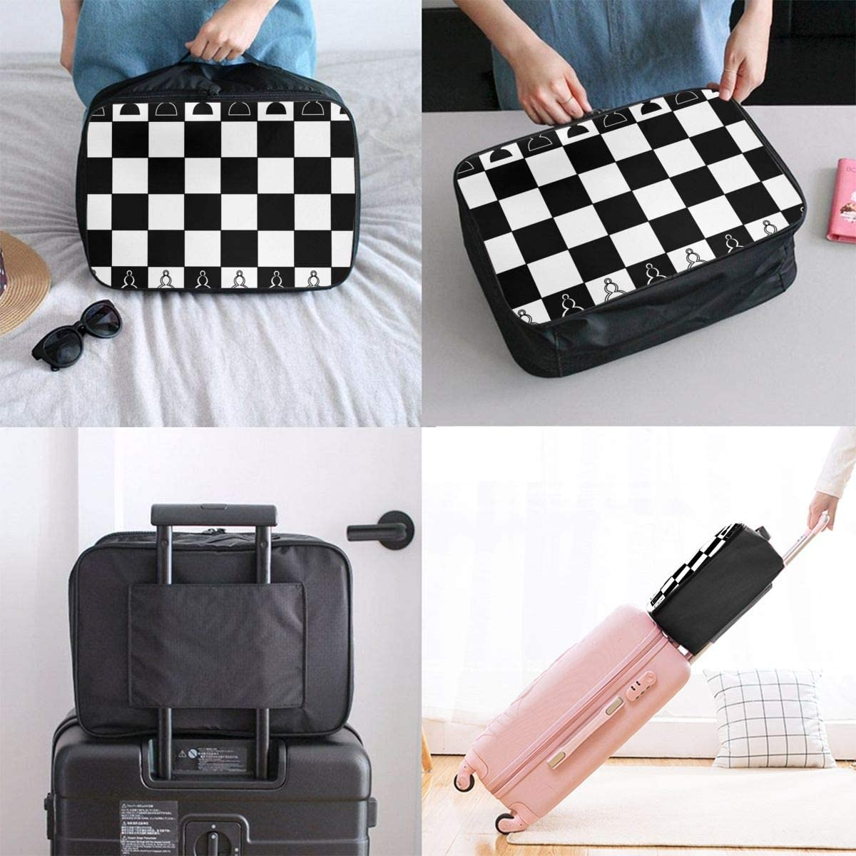Black And White Plaid Travel Carry-on Luggage Weekender Bag Overnight Tote Flight Duffel In Trolley Handle