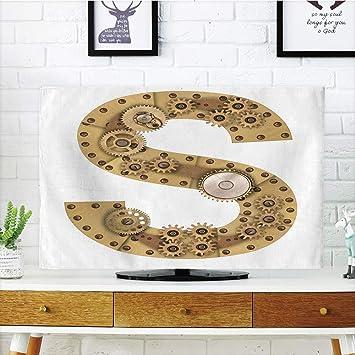 Funda para televisor LCD, Letra R, diseño de Alfabeto Antiguo de Carnaval, Color Dorado, Color Caramelo, Oro Amarillo, diseño de impresión 3D Compatible con TV de 32 Pulgadas: Amazon.es: Electrónica