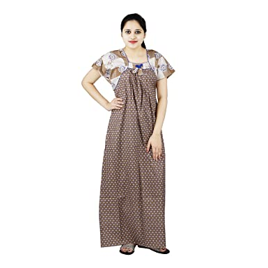 OSF Blue   Brown Colour Floral Design Printed Square Neck Cotton Nighty for Ladies  Nightwear Full Length Women Night Gown Short Sleeves (Free Size)  ... e04f95815