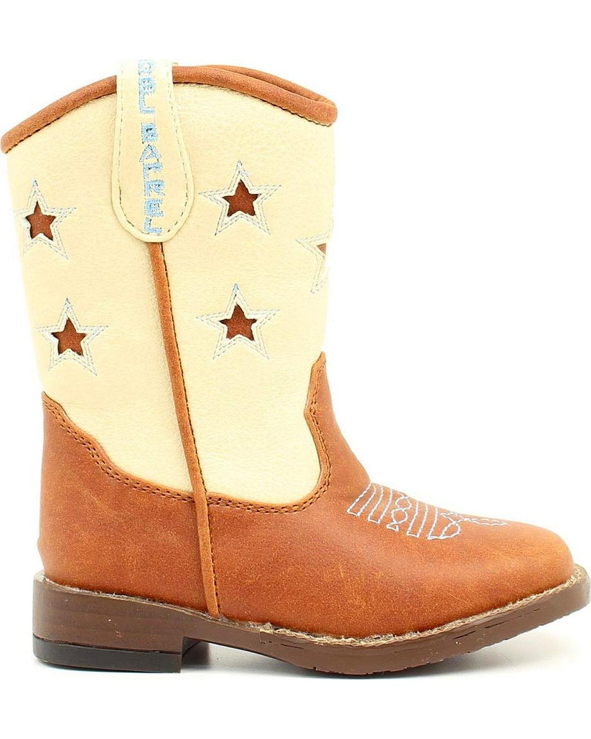 M&F Western Double Barrel Toddler-Boys' Lone Star Inlay Side Zipper Cowboy Boot Square Toe Brown 7 D(M) US