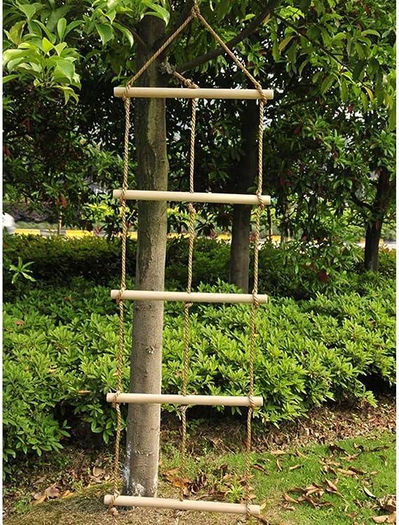 MALY Escalera de Cuerda, Trapecio de Madera y Columpio Escalera de Cuerda Gigante 5 Capas y 3 Cuerdas Escalera de Escalada 2.1M Alto Columpio de niños al Aire Libre para la Escalada