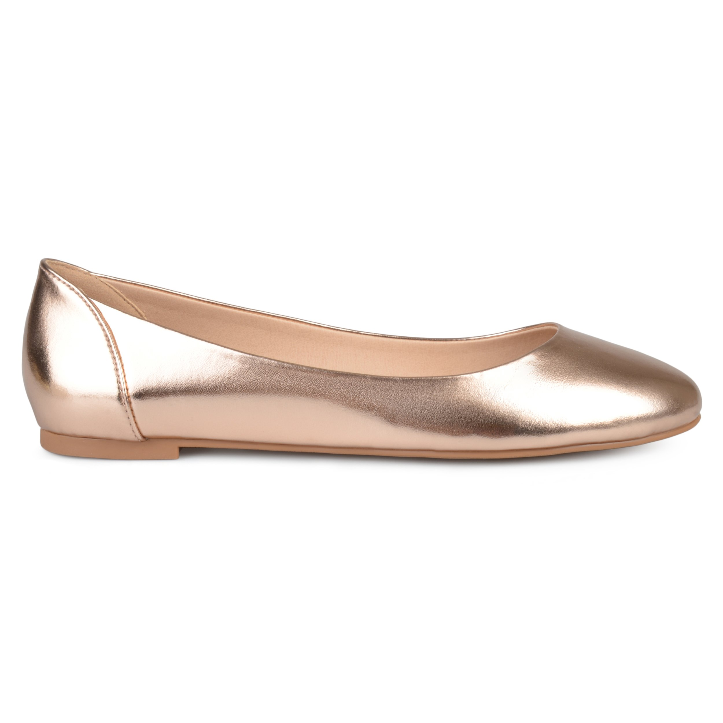 Brinley Co Womens Comfort Sole Faux Leather Round Toe Flats Rose Gold, 7.5 Regular US