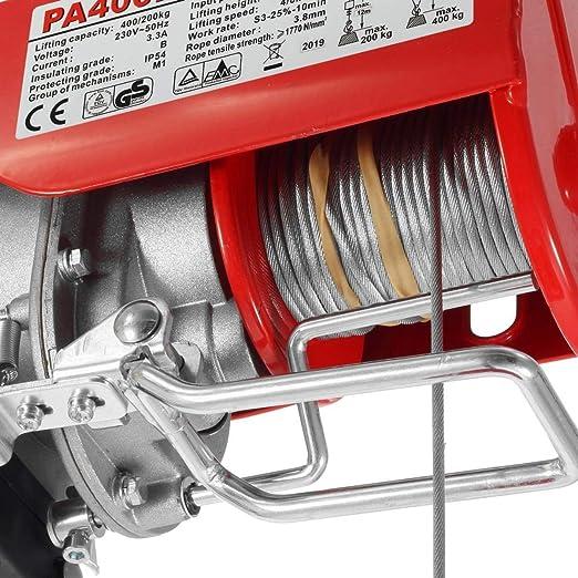 Partsam Polipasto eléctrico 200KG/400kg 900W 880lbs con control ...