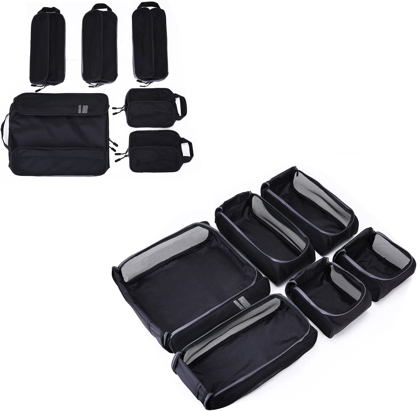 Packing Cubes Suitcase 3 Sizes BAGSMART 6-Pcs Travel Cube Organizer Rigid Fit in Carry on Luggage Backpack