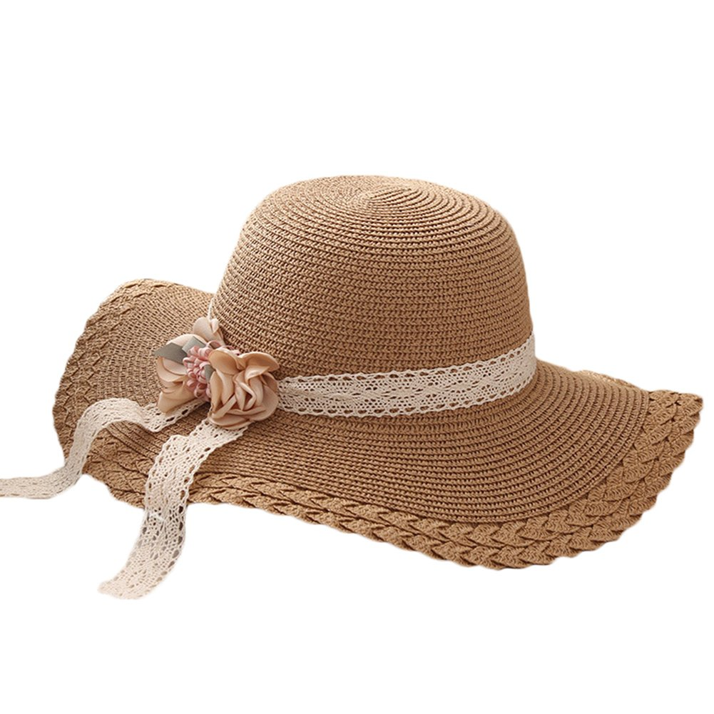 Aloiness Sun Hat for Women Floppy Panama Summer Fedora Trilby Hat Vintage Style Seagrass Hat for Women and Girls