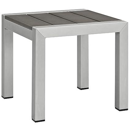 Amazon Com Modway Shore Aluminum Outdoor Patio Side Table In