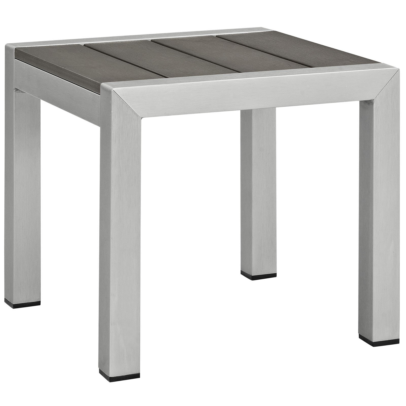 Modway Shore Aluminum Outdoor Patio Side Table in Silver Gray