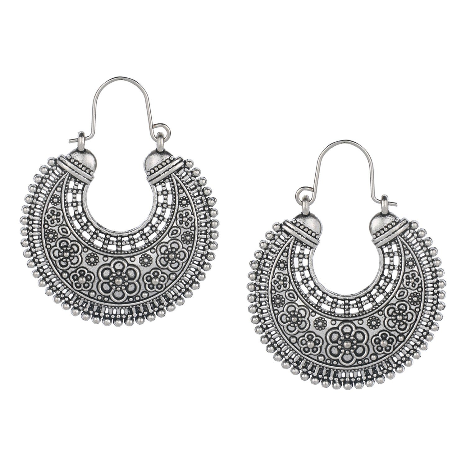 Efulgenz Indian Vintage Retro Ethnic Dangle Gypsy Oxidized Silver Tone Boho Hoop Earrings for Girls and Women Love Gift