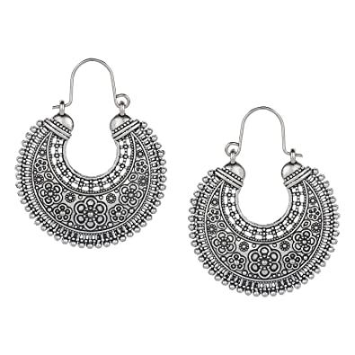 ce698f0a1 Image Unavailable. Image not available for. Color: Efulgenz Boho Jewelry  Indian Vintage Ethnic Dangle Tribal Gypsy Oxidized Golden Silver Hoops Dangle  Drop ...