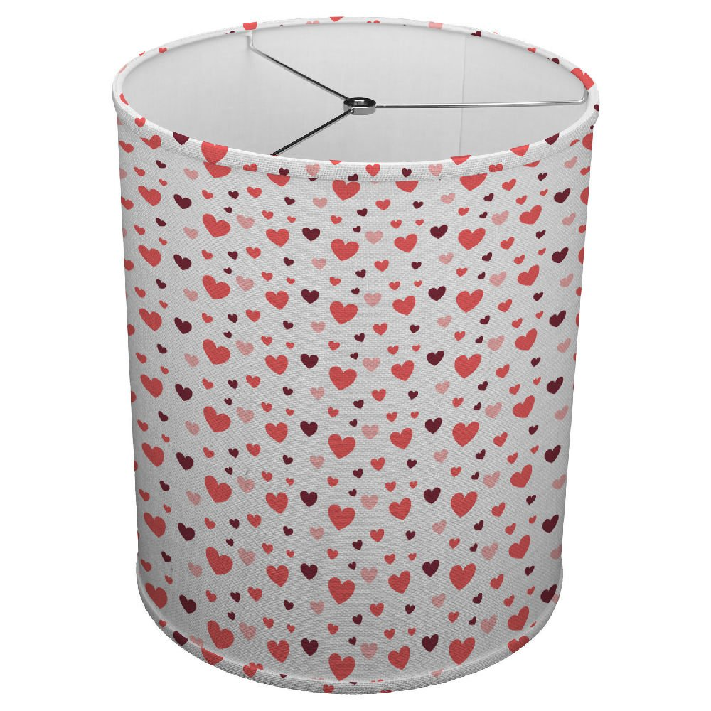 Hardback Linen Drum Cylinder Lamp Shade 8'' x 8'' x 8'' Spider Construction [ I Love You Hearts ]