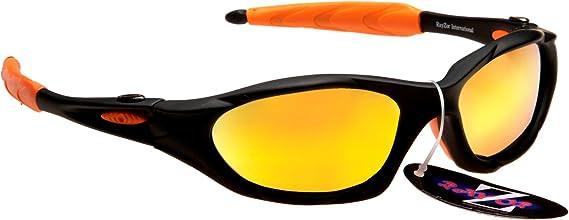 Rayzor Profesionales Ligeros Negros UV400 Deportes Wrap navegación Gafas de Sol, con un Anti-deslumbramiento de Lente Espejo Oro Iridium Revo