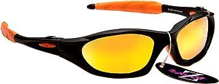 Rayzor professionali leggeri UV400 Nero Sport Wrap Grillo da sole, con un 1 pezzo Arancione Iridium obiettivo rispecchiato. RI478BKOR-CR