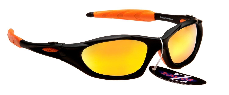 Rayzor Professionelle Leichte UV400 Schwarz Sports Wrap GOLF Sonnenbrille, mit Gold Iridium Mirrored Blend Lens.
