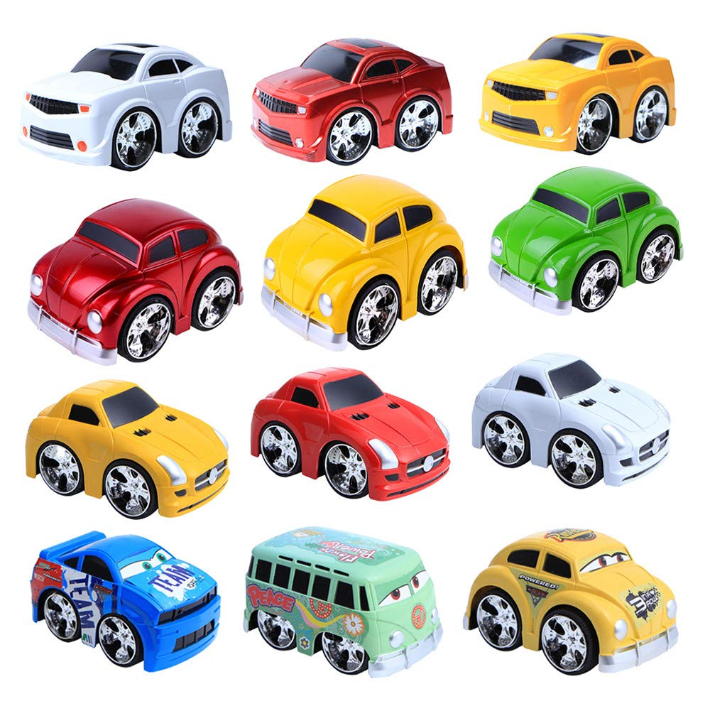 AMOFINY Baby Toys 12Pcs Pull Back Toy Car Set Wjczh4 Pull Back Car 12 Pack Mini Plastic Vehicle Set Car Toys for Boys Kids Child Party