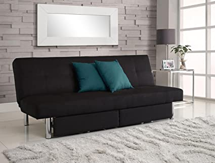 DHP Sola Convertible Sofa Futon With Space Saving Storage Compartments,  Chrome Legs And Upholstered In